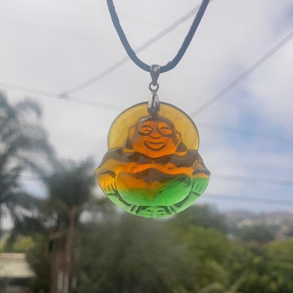 Buddha glass necklace
